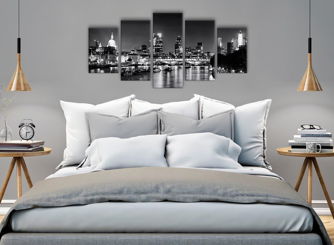 Black And White Artwork For Bedroom 5 Panel River Thames London Skyline Cityscape Canvas Wall Art Pictures 5430 Black White Grey 160cm Xl Set Artwork