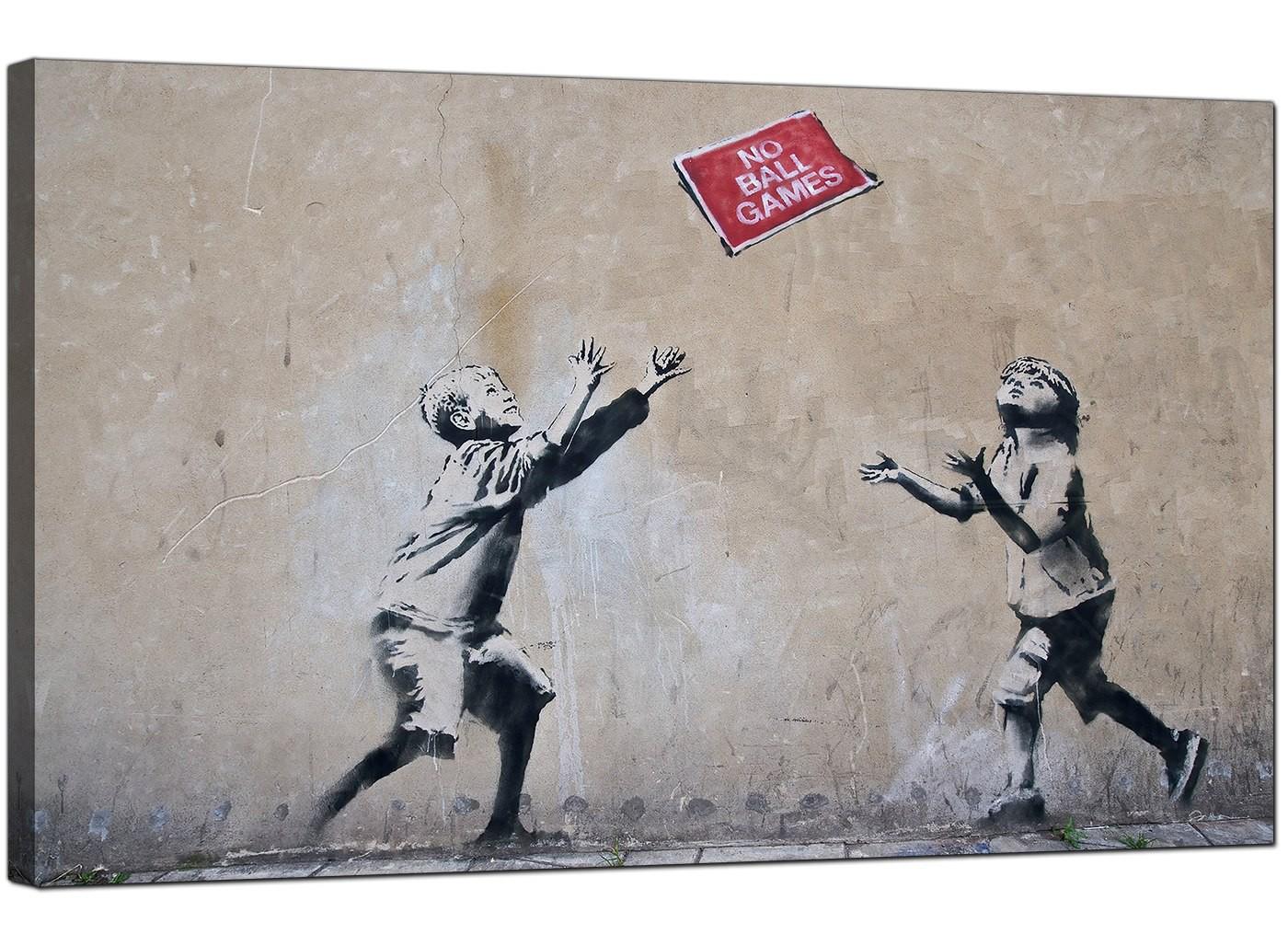 Red And Black Graffiti Wallpaper Banksy Canvas Prints No Ball Games