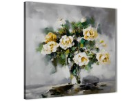 Mustard Yellow Grey Flowers Painting Stairway Canvas ...