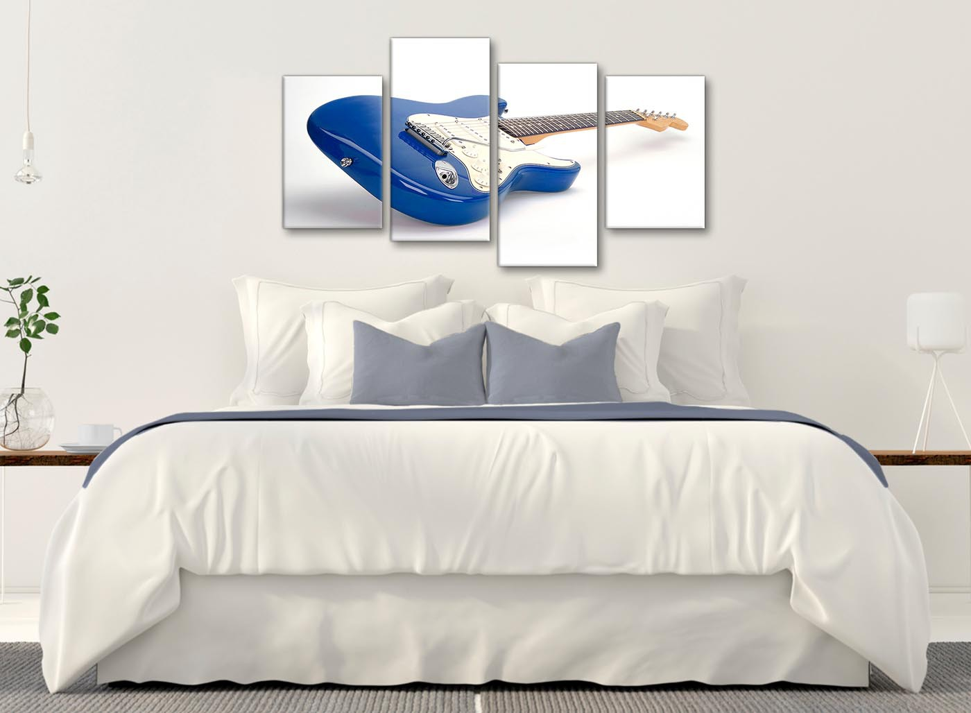 Guitar Decor For Bedroom Large Blue White Fender Electric Guitar Living Room