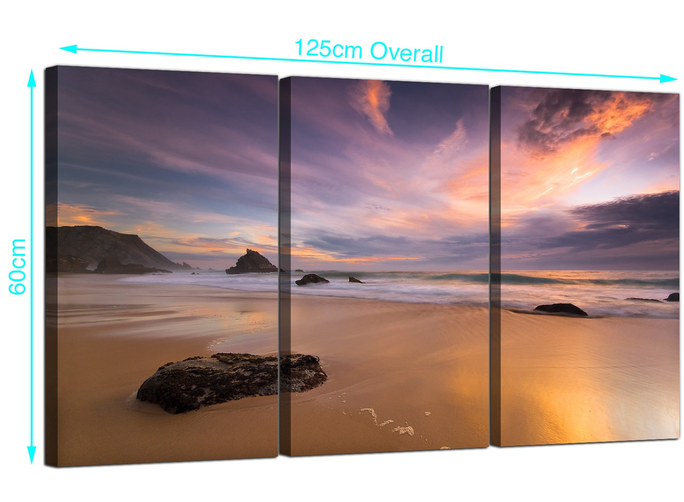 Cheap Canvas Pictures Cheap Beach Sunset Canvas Art Three Part For Your Bedroom