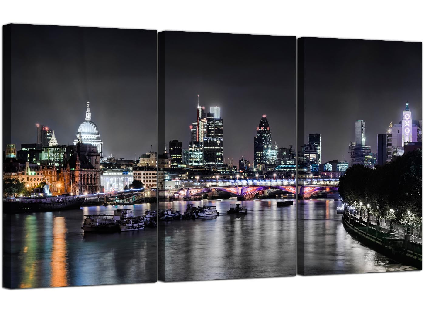 Large Wall Art For Living Room Cheap London Skyline At Night Canvas Art 3 Panel For Your