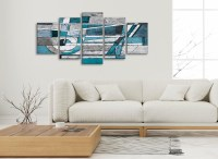 5 Panel Teal Grey Painting Abstract Bedroom Canvas Wall ...