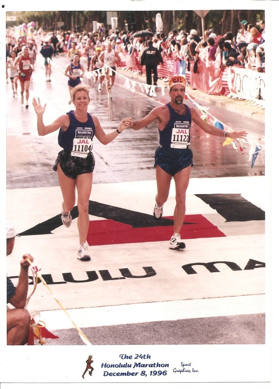 Finishing my first marathon in Honolulu 1996
