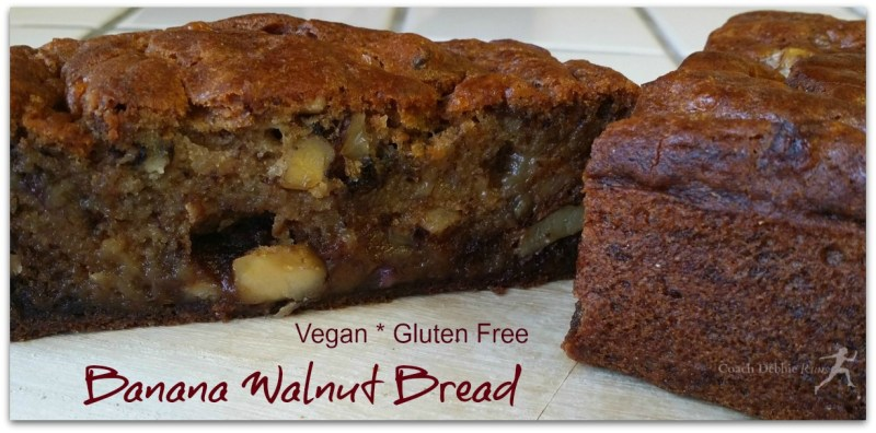 Vegan and gluten free banana walnut bread made with aquafaba.