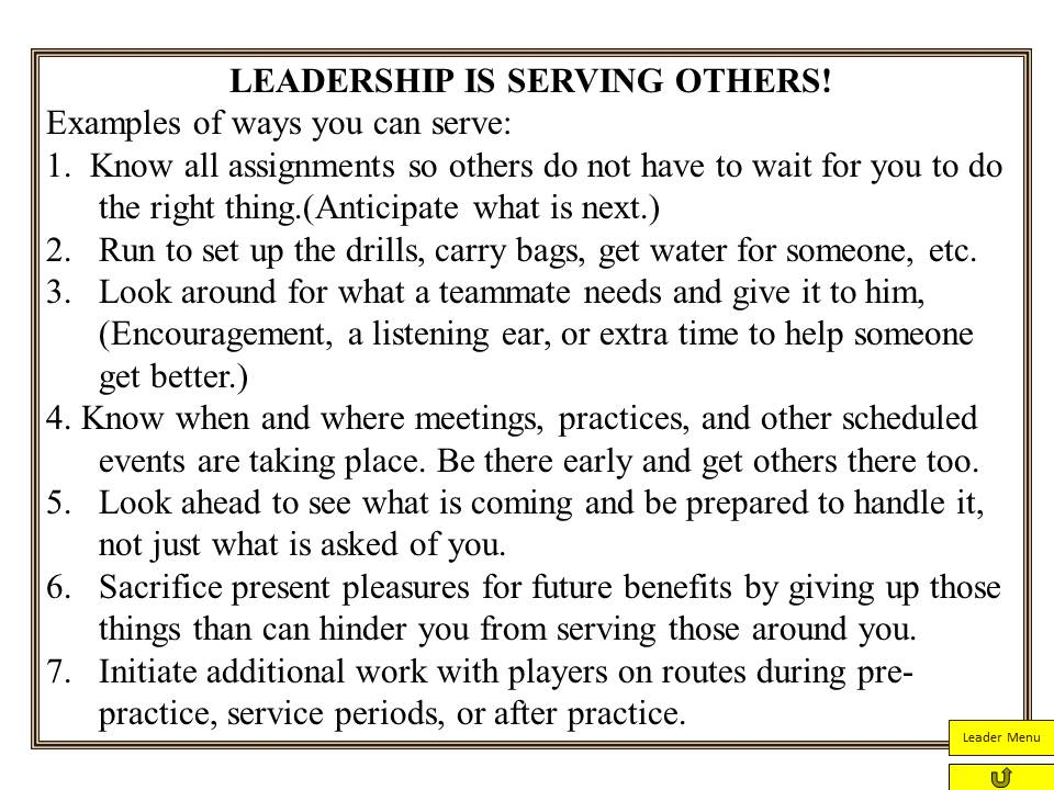 Servant Leadership from Jim Zorn Coach and Coordinator