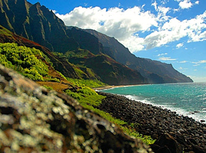 A view of the Kalalua Trail on Kaua'i North Shore