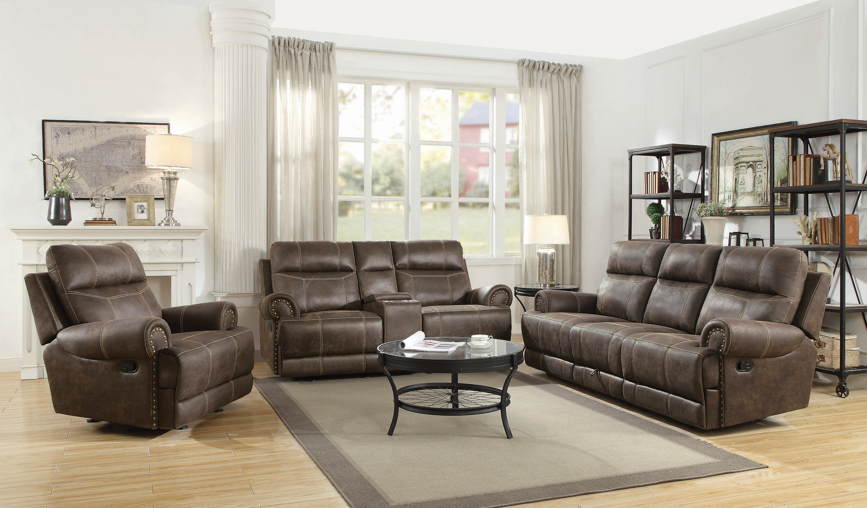 Brixton Upholstered Motion Sofa With Cup Holders Buckskin Br