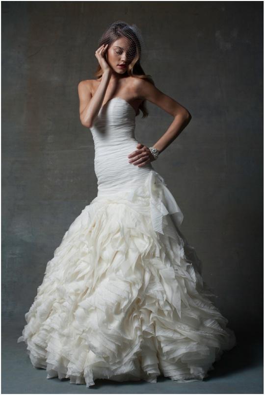 wedding dress basque waist ruffles gown isabelle armstrong