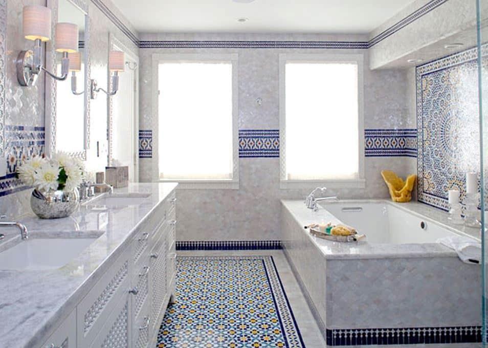 Bathroom Blue Mosaic Tile Moroccan Zellige Cococozy