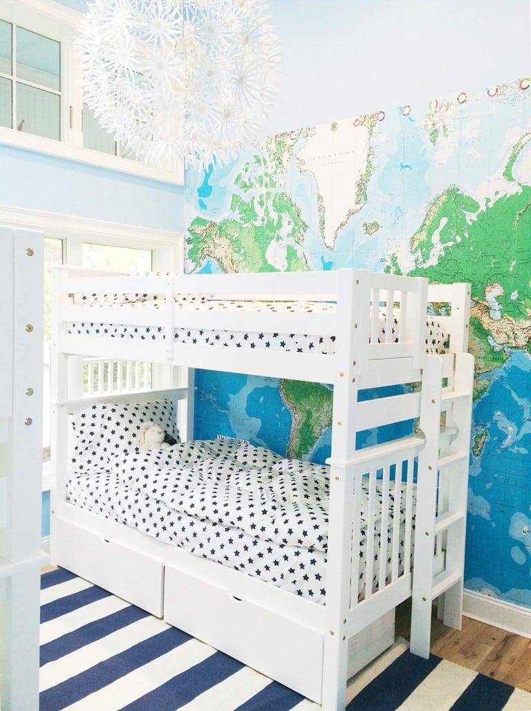 bunk-bedroom-bed-wall-map-mural-ikea-maskros-pendant-chandelier-light