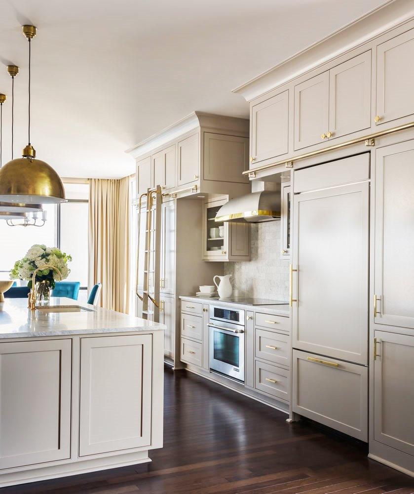 luxury grey kitchen cabinets brass hardware gold knobs handles