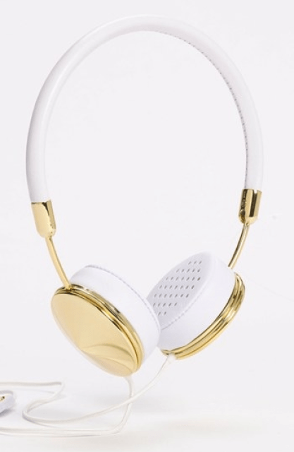 Gold and white headphones