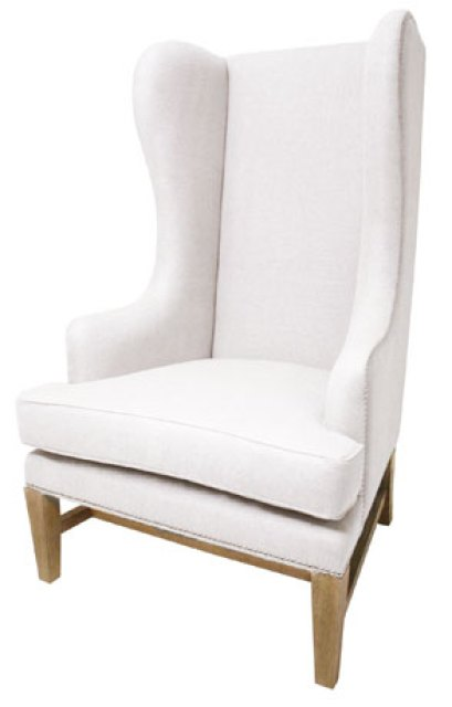Muslin upholstered wingback chair