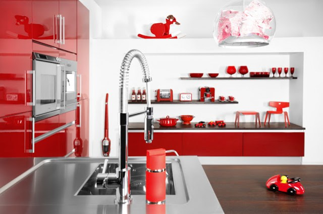 red small kitchen glossy cabinets cabinetry stainless steel counters countertops home decor decorating interior design