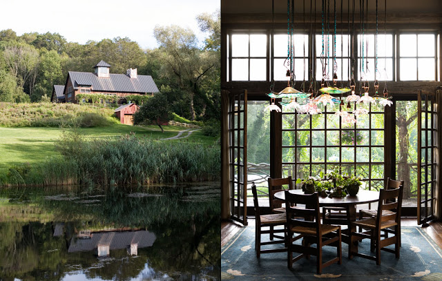 On the left an exterior view of a barn home. On the right the dining room in barn house with colorful glass pendant lights over a round wooden dining room table with wooden chairs