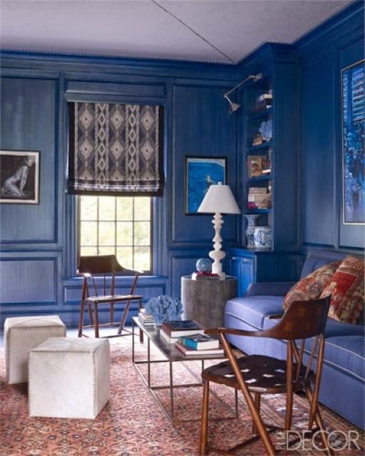 blue library venetian plaster walls thom filicia