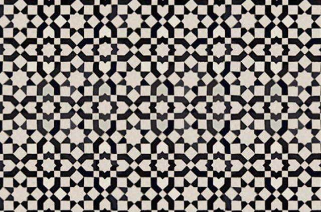 Black and white mosaic tiles