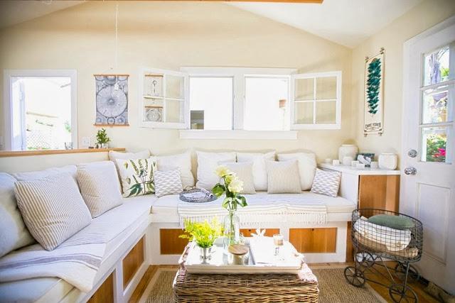 Super small living a genius 350 square foot beach for Living room square feet