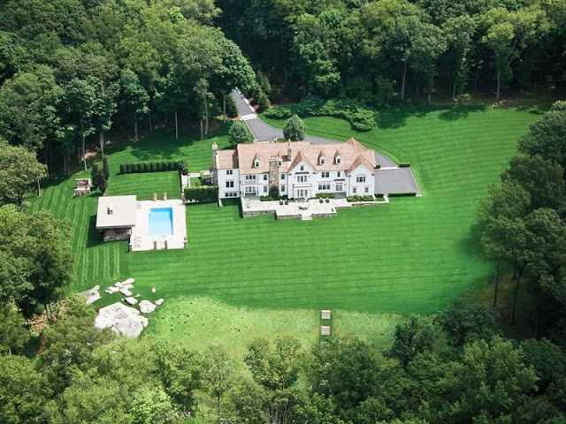 aerial shot of a mansion in New Canaan, CT