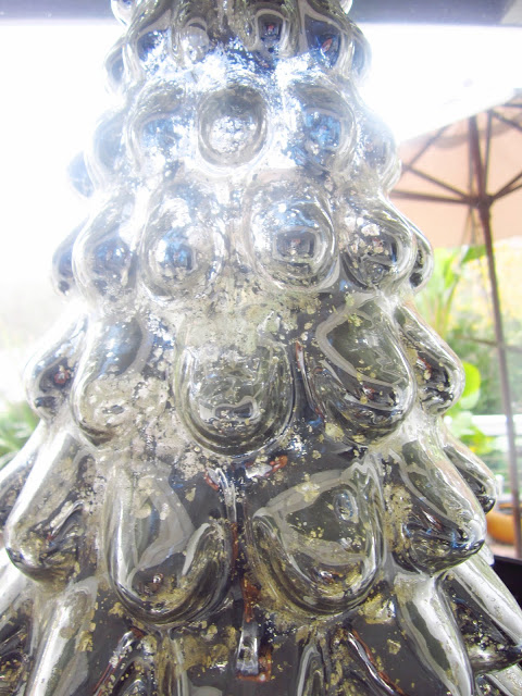 Close up of mercury glass holiday tree