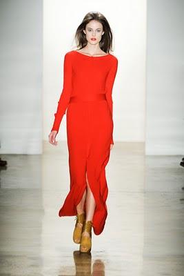 Orange floor length Costello Tagliapietra dress from their Fall 2011 runway show