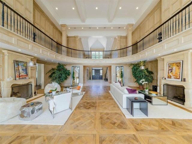 Hamptons parquet floors and oak paneled walls mirrored furniture