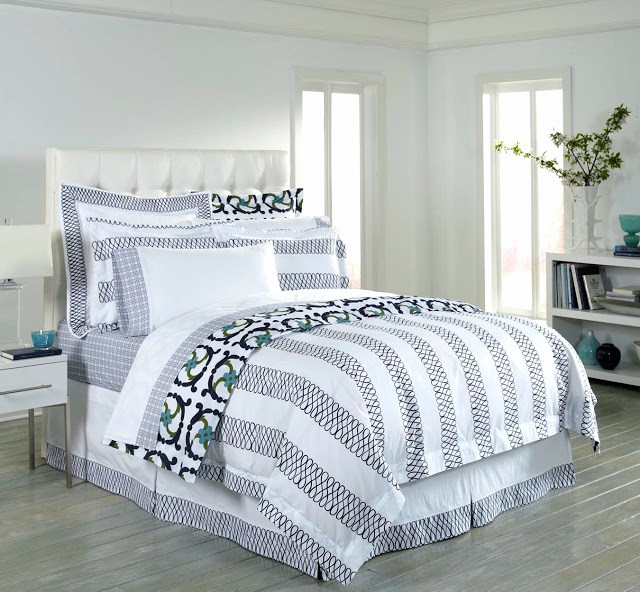 COCOCOZY Loop navy white green bed bedding linens duvet cover sheets sheet shams sham decor decorate bedroom home design
