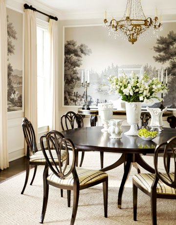 Cheap to chic pastoral murals cococozy for Dining room mural wallpaper