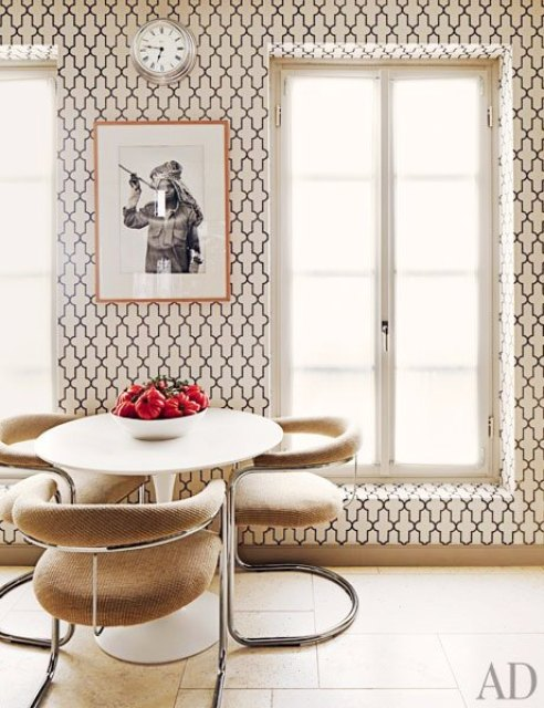 Breakfast nook with floor to ceiling Moroccan style Phillip Jeffries printed wallpaper, round table and modern chairs