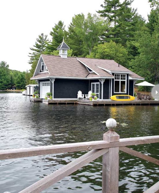 boathouse Ontario Canada on Lake Rosseau house boat water view