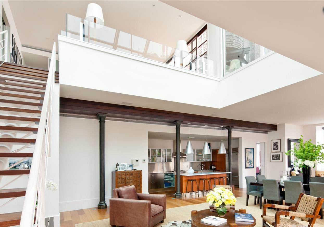 See this house a 12 7 million tribeca penthouse cococozy for Modern open floor plan house designs