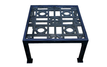 daily glass metal outdoor coffee table in navy blue cococozy