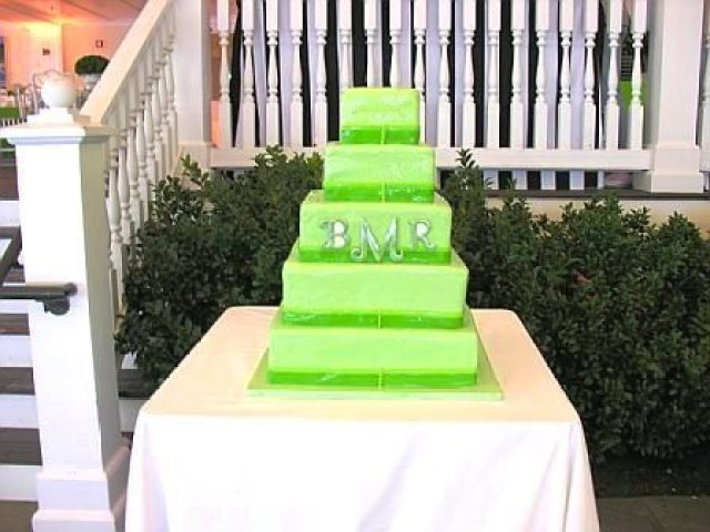 Green five tier wedding cake
