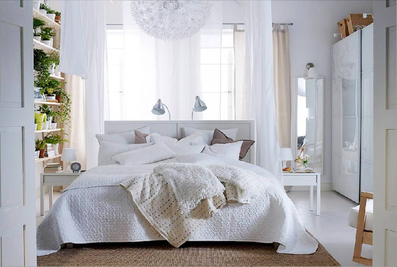 White bedroom with Dandelion ceiling light from Ikea