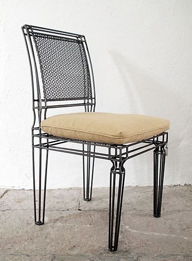 iron and metal mesh chair