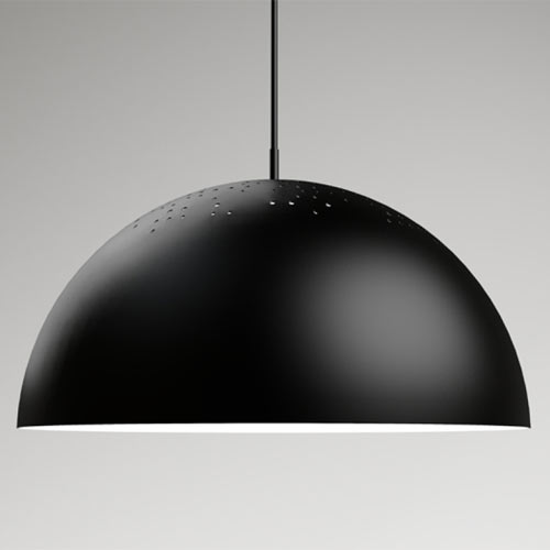yLighting black aluminium pendant light with silver aluminum interior
