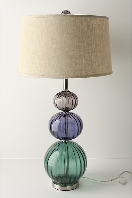 Table lamp with graduated green, blue and gree stacked glass