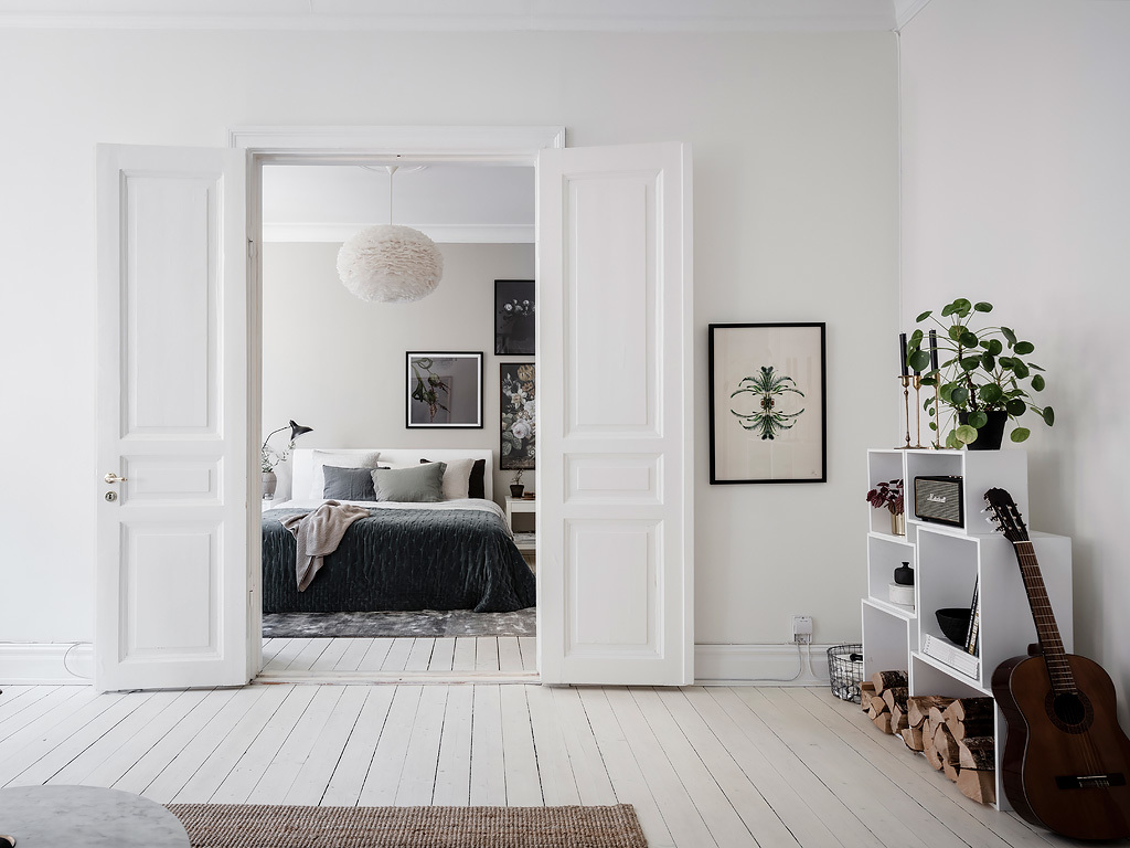 Stylish bedroom in a warm palette