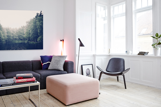 Living Room With Grey And Pastel