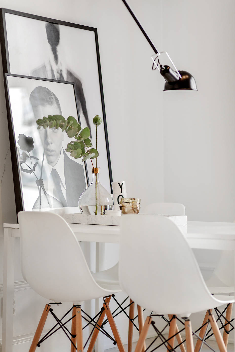 Light grey home with leather and brass details - via cocolapinedesign.com
