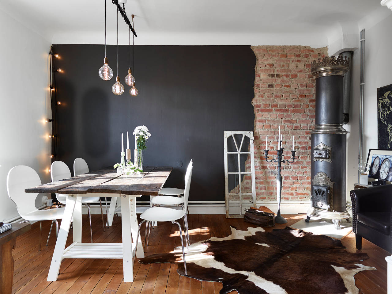 Swedish Living Room Half Brick Half Black Wall In A Swedish Living Room Coco Lapine