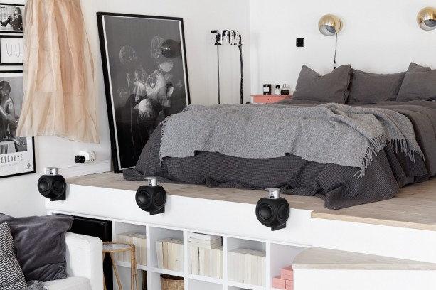 Space saving bedroom in this stylish flat - via cocolapinedesign.com