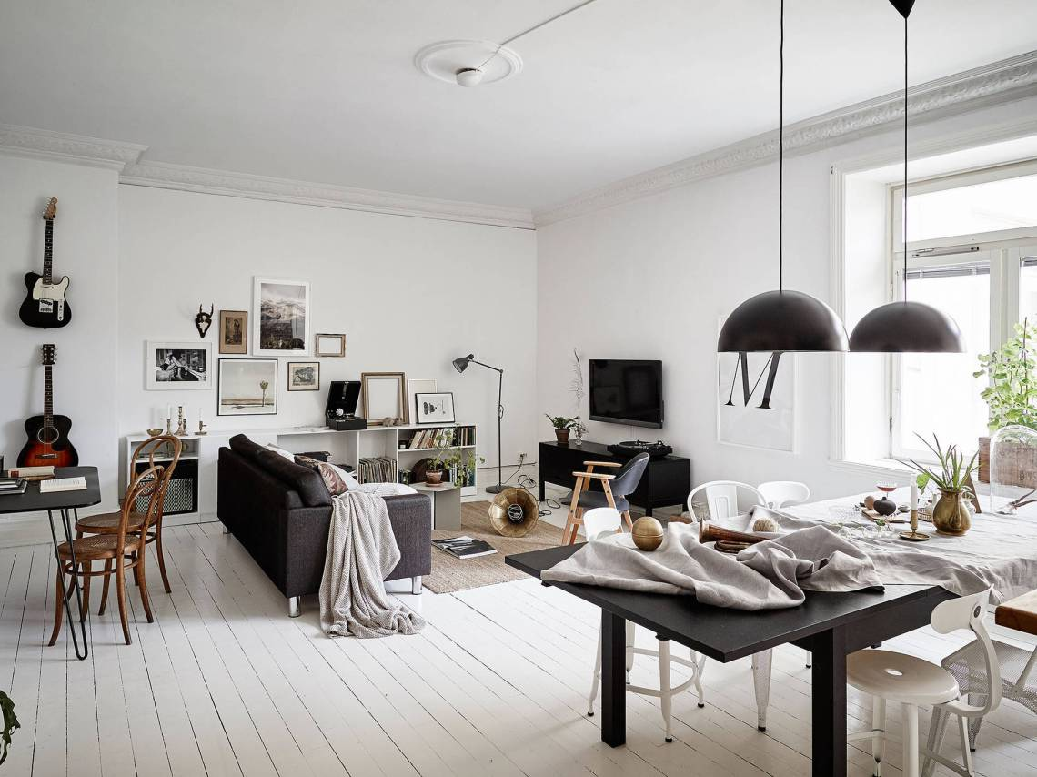 Grey accents and white floor - via cocolapinedesign.com