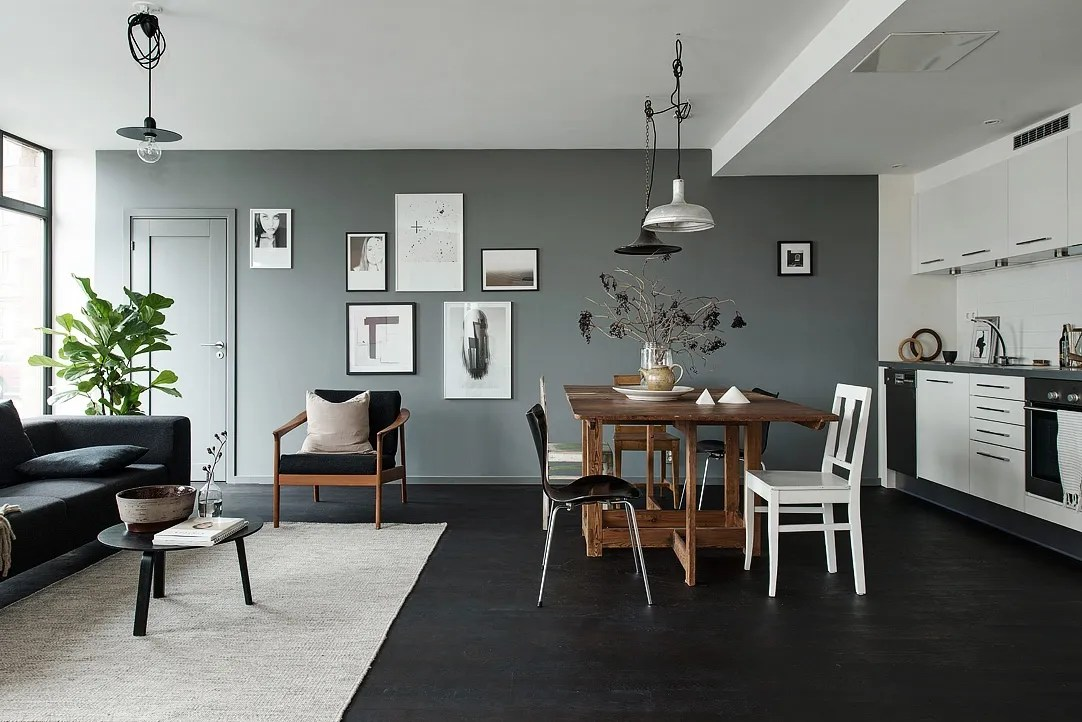 Black floors grey walls and lots of art pieces coco for Huis interieur stijlen