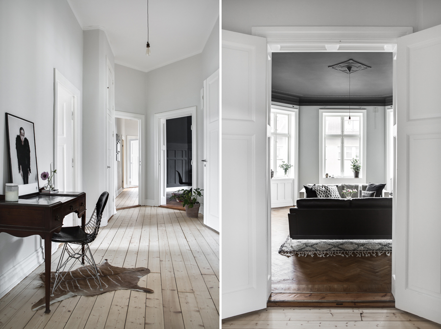 Classy home with a black ceiling - via Coco Lapine Design