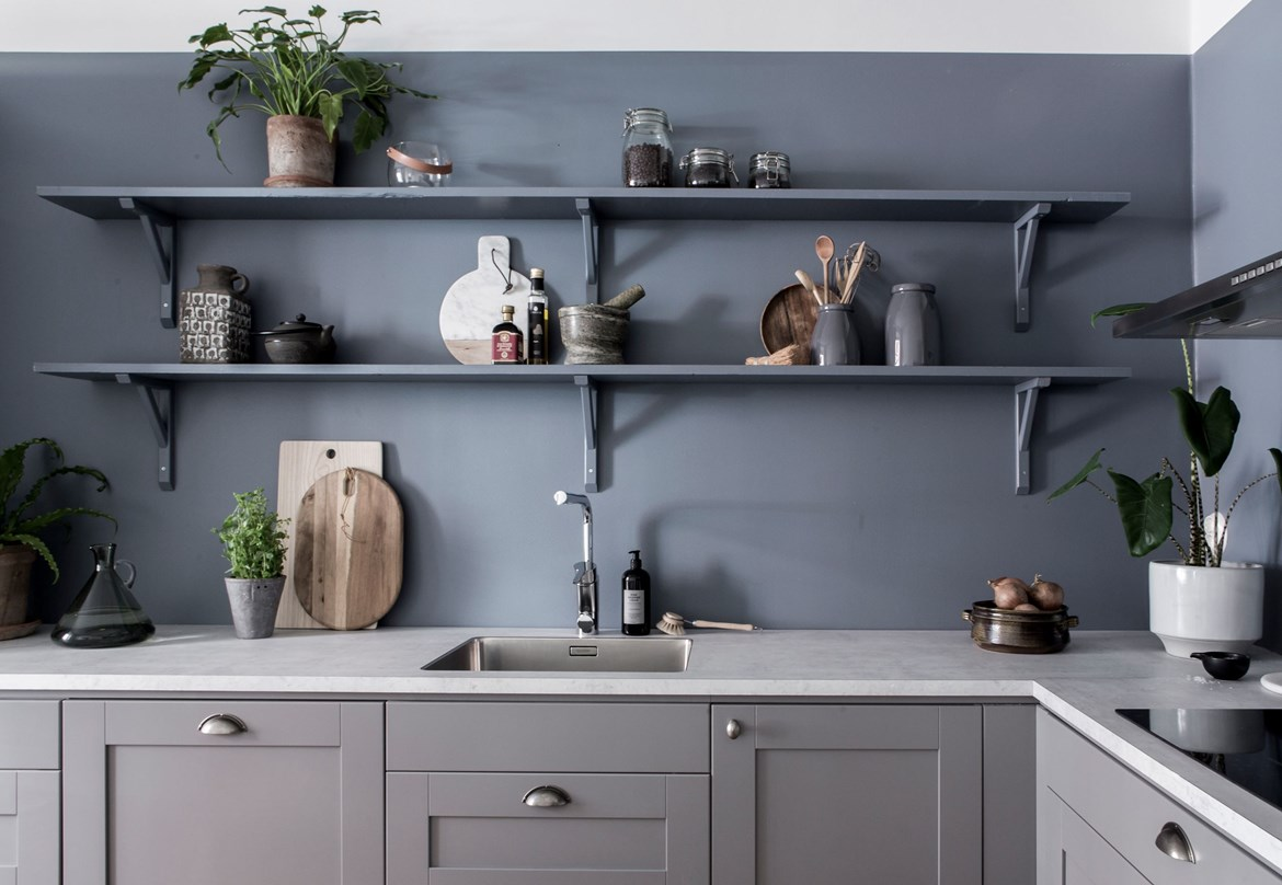 Wall Kitchen Blue Kitchen Wall Coco Lapine Designcoco Lapine Design
