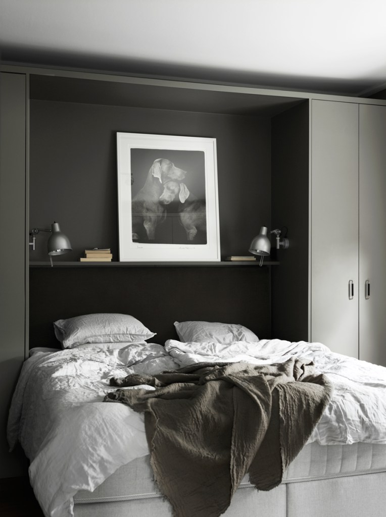 Dark bedroom with built in cabinets - via Coco Lapine Design blog