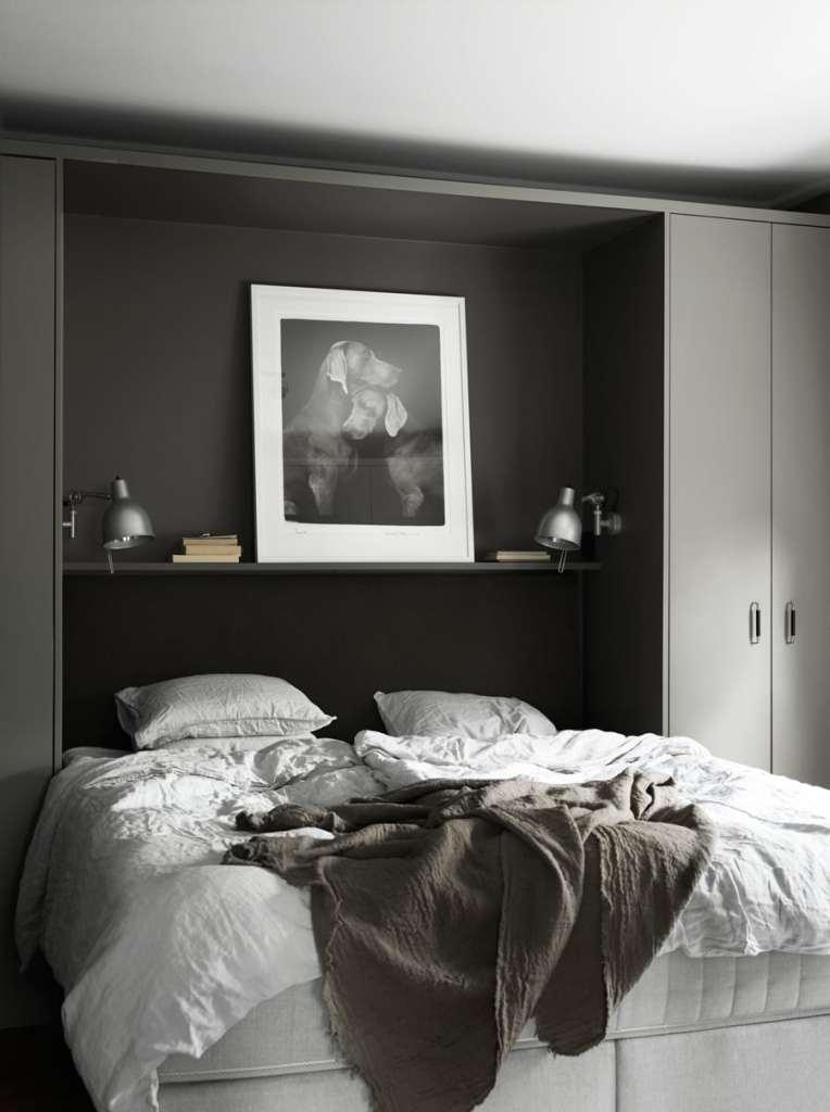 Dark bedroom with built in cabinets - via Coco Lapine Design blog