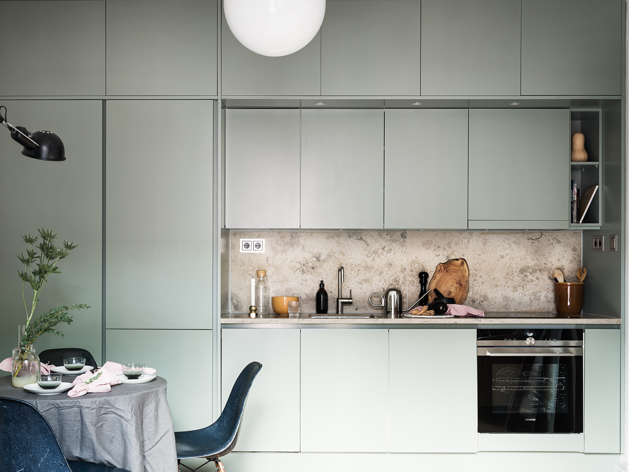 Mint green kitchen and natural stone - COCO LAPINE DESIGNCOCO LAPINE ...